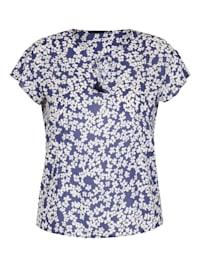 Bluse mit Blumen-Muster und Bindeband