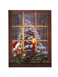 Wandbild 'Weihnachtsbaum' mit Beleuchtung