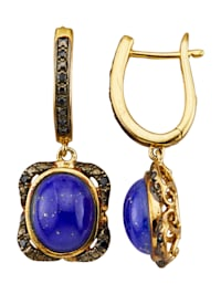 Oorbellen met lapis lazuli en synth. zirkonia's