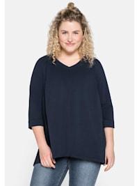 Sweatshirt in A-Linie mit Plissee-Einsatz im Rücken