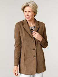 Coat in soft faux suede
