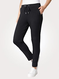Pull-on trousers made from a soft fabric