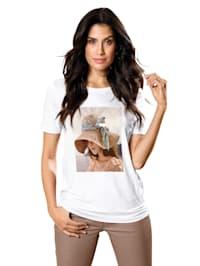 Shirt met print en pailletten