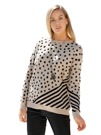 Pull-over à pois et rayures