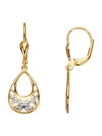 Örhängen med genombrutet mönster och diamanter