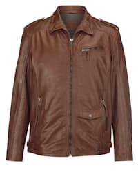 Kožená bunda s prešívanou vnútornou podšívkou