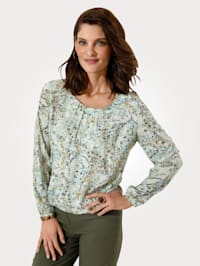 Pull-on blouse with delicate gathers