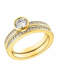 Ring für Damen, Sterling Silber 925 vergoldet, Zirkonia