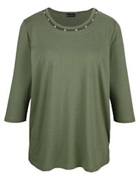 T-shirt à application de perles à l'encolure ronde