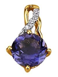 Anhänger mit Iolith und Diamanten