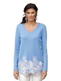 Pullover mit Spitze in Kontrastfarbe