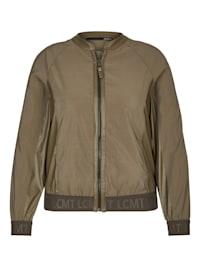 Jacke mit unifarbenem Stoff und Kontrastbesätzen