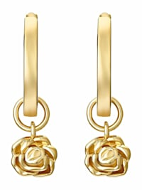 Creolen für Damen, Sterling Silber 925 vergoldet, Rose