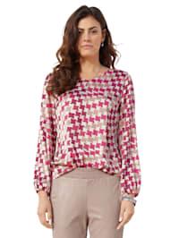 Bluse mit Hahnentritt-Muster allover