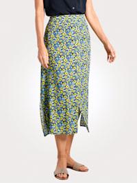 Kjol med blommigt mönster