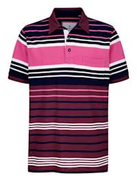 Poloskjorte med garnfarget stripemønster