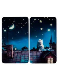 2 komfyrdekkeplater -Katt i måneskinn-