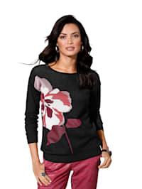 Pullover mit Blüten-Intarsie