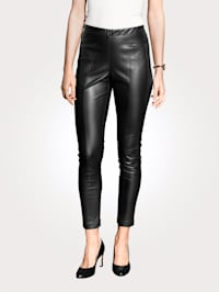 Faux leather trousers with dividing seams