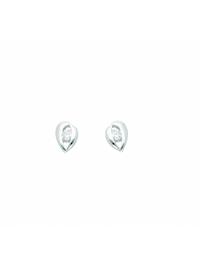 Damen Goldschmuck 333 Weißgold Ohrringe / Ohrstecker mit Zirkonia