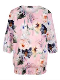 Bluse med trykt blomstermønster