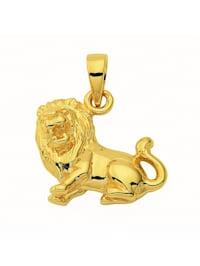 Damen & Herren Goldschmuck 585 Gold Sternzeichen Anhänger Löwe