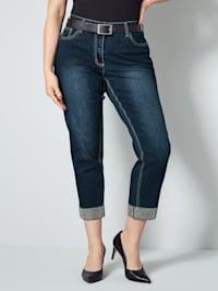 7/8-jeans med strass