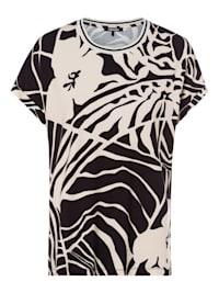 Rundhalsshirt mit gekrempelten kurzen Ärmeln