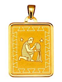 """Pendentif avec signe du zodiaque """"Verseau"""" en or jaune 375"""