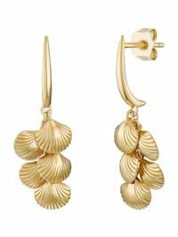 Ohrhänger für Damen, Sterling Silber 925 vergoldet, Muscheln