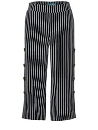 Wide Leg Hose mit Streifen mit Knopfleiste am Bein