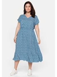 Kleid mit V-Ausschnitt und Blumendruck