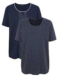 Shirts im 2er-Pack 1x uni, 1x mit Pünktchendruck