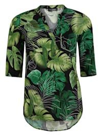 Bluse mit Blätter-Print