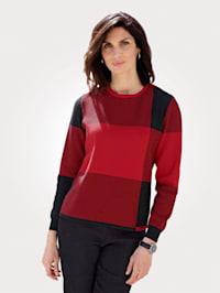 Pullover mit kontrastfarbenem Karomuster
