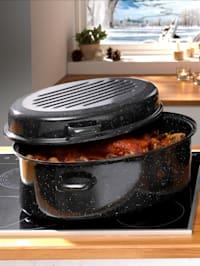 Geëmailleerde ovale braadpan, inhoud ca. 13 liter