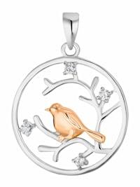 Motivanhänger für Damen, 925 Sterling Silber Zirkonia bicolor   Vogel