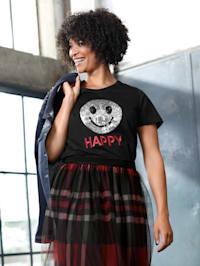 Shirt mit Pailletten-Smiley und Stickerei