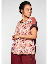 Shirt im Materialmix, mit Batik-Druck vorn