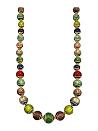 Muranoglas-Collier In Silber 925, vergoldet