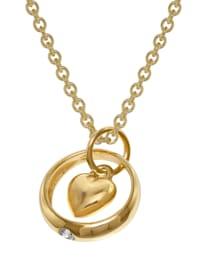 Taufring Anhänger Herz 333 Gold + plattierte Silberkette