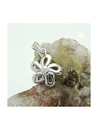 Anhänger 10mm Blume mit Zirkonia glänzend rhodiniert Silber 925