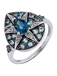 Bague avec topazes bleues et diamants