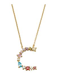Halsband med bokstavshänge – C med cubic zirconia i flera olika färger