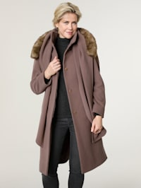 Wool-blend coat with scarf
