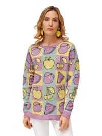 Pullover mit Früchte-Motiv allover