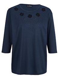 Shirt met borduursel en glittersteentjes