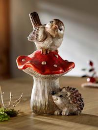 Beeldje Vogel op paddenstoel