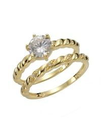 Ring-Set 925/- Sterling Silber Zirkonia weiß Glänzend 925/- Sterling Silber