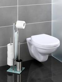Valet WC 3 en 1, acier inox, blanc
